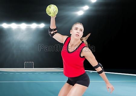 spieler der handball im stadion spielt