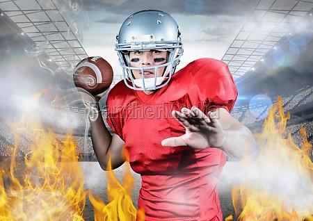 portraet des athleten american football zwischen