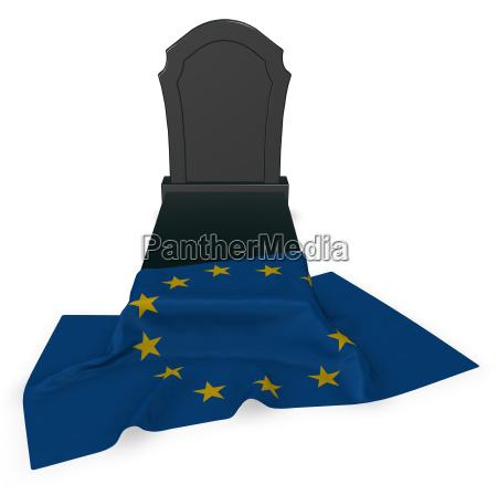 grabstein und flagge der europaeischen union