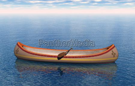 kanu der indianer mit paddel auf
