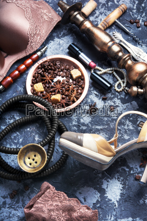 sexy lingerie hookah and coffee
