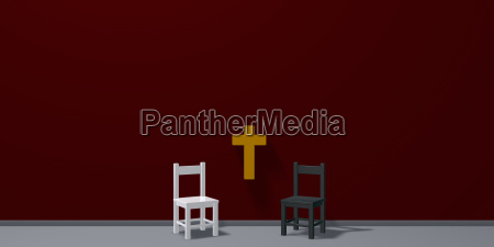 two chairs and christian cross