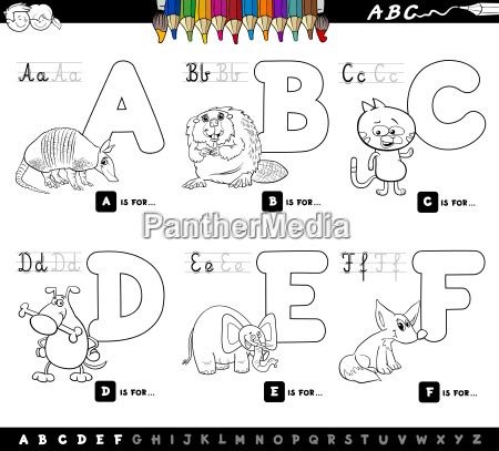 educational cartoon alphabet letters for coloring
