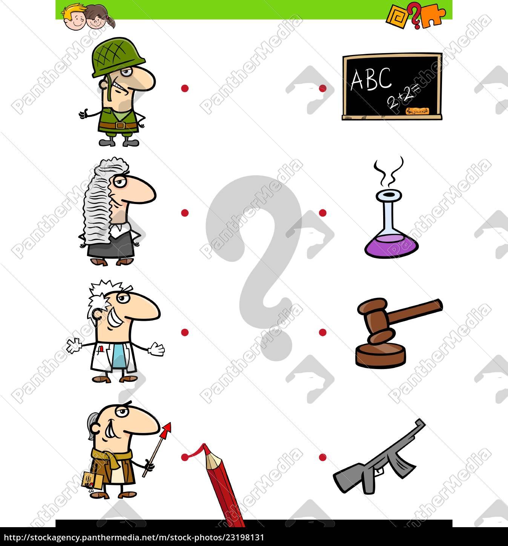 match, berufe, lernspiel, für, kinder - 23198131