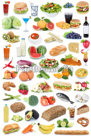 collage food and drink background healthy