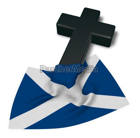 christian cross and flag of scotland