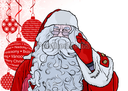 santa claus and background with baubles