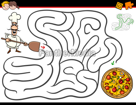 cartoon maze activity with chef and