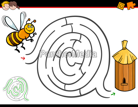 cartoon maze activity with bee and