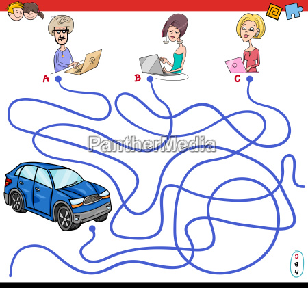 cartoon paths maze game with people