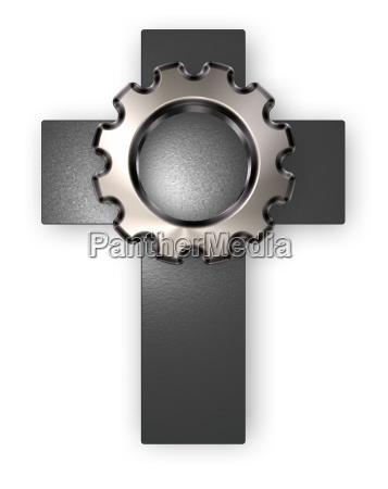 christian cross and gear wheel