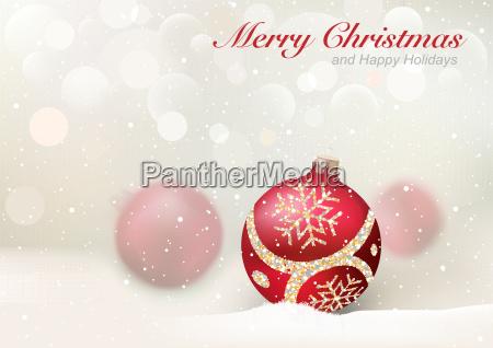 eleganter weihnachtsgruss mit roten kugeln