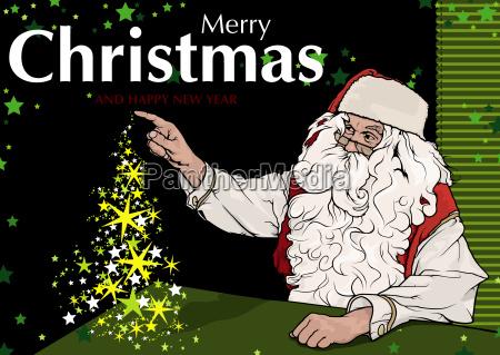 santa claus and magic christmas tree