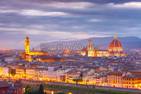 famous view of florence at sunset