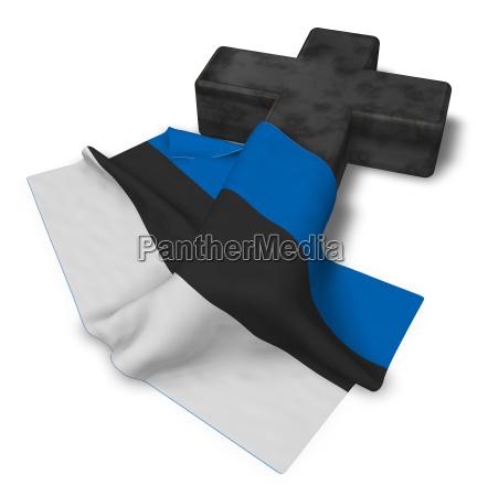 christian cross and flag of estonia