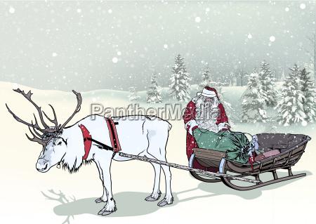 winter landscape and santa claus