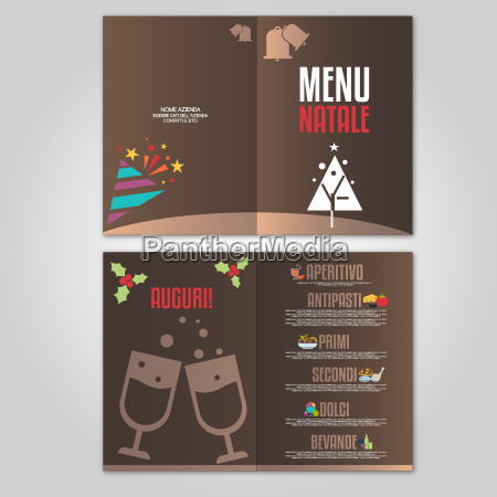 festive menu with christmas icons