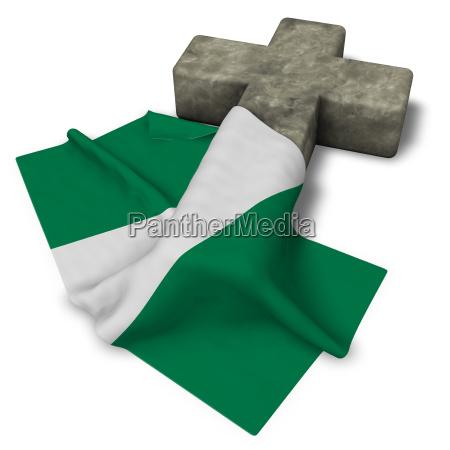 christian cross and flag of nigeria