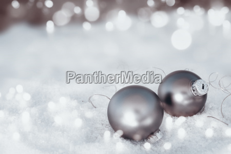 frosty snow bokeh background with silver
