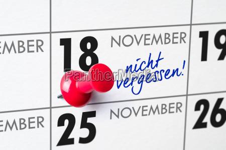 wall calendar november 18