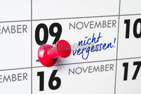 wall calendar november 9