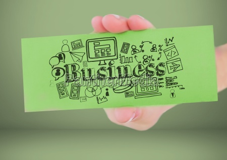 hand holding card with business graphics