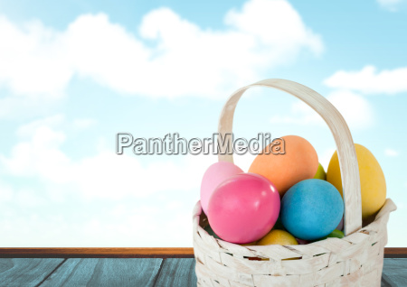 easter eggs in basket in front