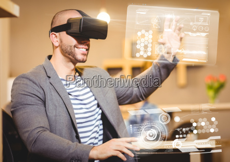 man traegt vr virtual reality headset