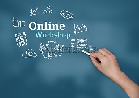 handschrift kreide mit online workshop text