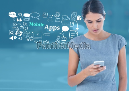 woman with phone and mobile apps