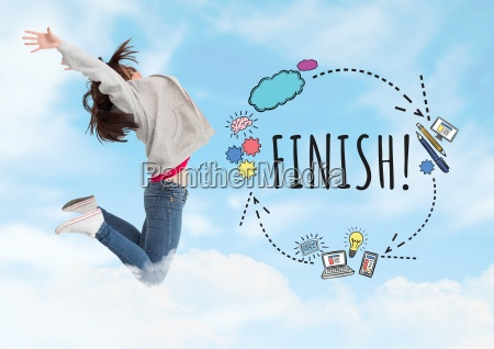 woman jumping and finish text with