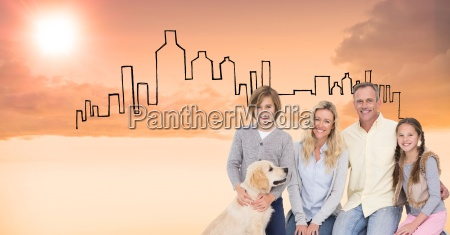digital composite image of happy family