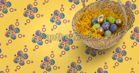 easter eggs in front of pattern