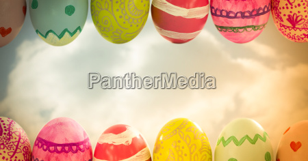 easter eggs in front of cloudy