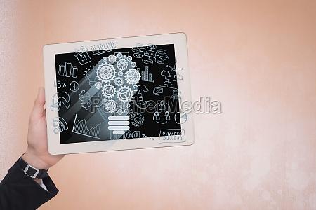 iot grafiken auf digitalem tablet von