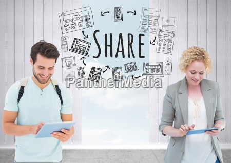 people with tablets and share text