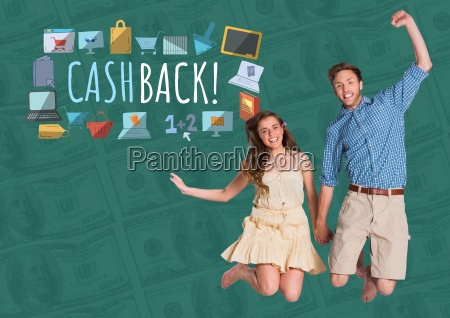 couple jumping excitedly and cashback text