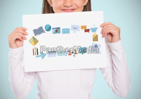 girl holding card with education graphics