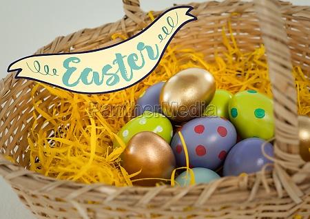 easter banner against easter eggs in