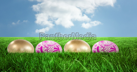 easter eggs in front of blue