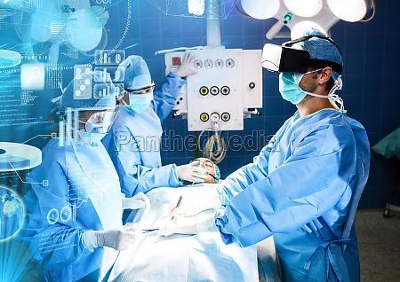 doktoren die tragendes vr virtuelles wirklichkeits