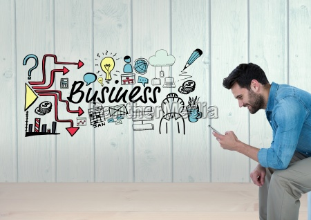 man on phone with business text
