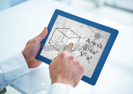 hands with blue tablet showing black