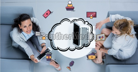 businesswomen with technologies and cloud computing