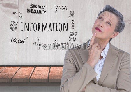 older businesswoman thinking and information and