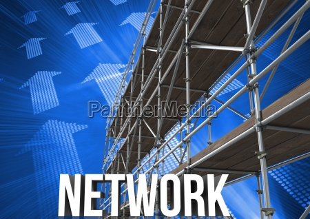 network text with 3d scaffolding and