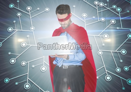 business man superhero with laptop against