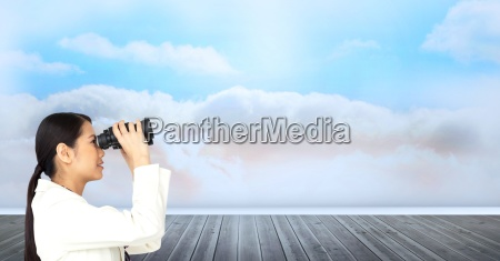 digital composite image of businesswoman looking