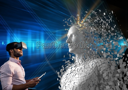 digital composite image of man using