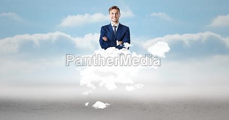 digital composite image of businessman on